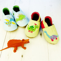 Personalised dinosaur mix 'n' match baby shoes