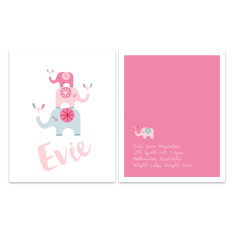 Girls' elephant birth prints 2 pack (various colours)