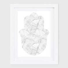 White Marble Hamsa Print