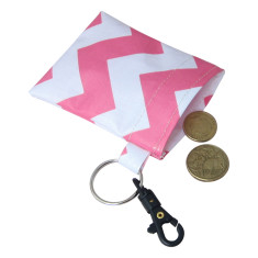 Pink chevron zig zag waterproof coin pouch key ring with clip