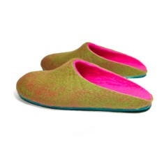 Women's Felt Clogs Green Pink Parrot