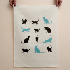Cats linen tea towel