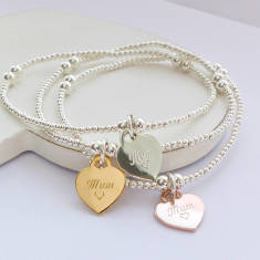 Sterling silver mum heart charm beaded bracelet