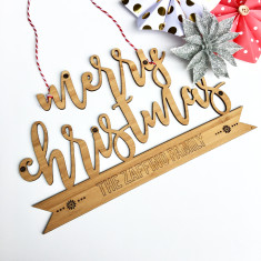 Personalised Merry Christmas wall hanging
