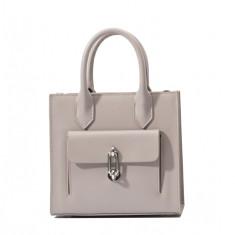 Pattern Leather shoulder tote bag in grey