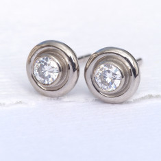 Moissanite Halo Stud Earrings, 18ct Gold