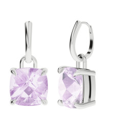 Pink Amethyst Cushion Checkerboard Silver Drop Earrings
