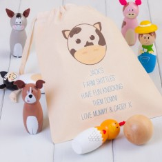Children's Wooden Farm Animal Skittles and Personalised Bag
