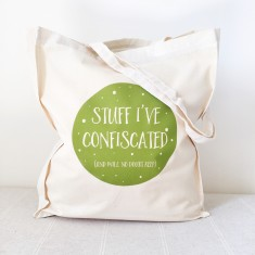 Confiscated stuff teacher tote bag