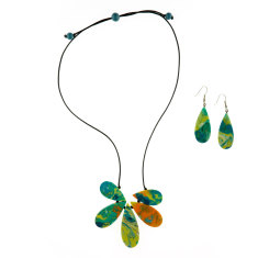 Cascade artisan flora necklace + drop earrings matching set