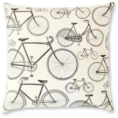 French Bikes linen cushion cover