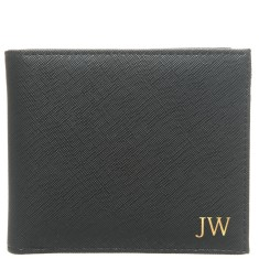 Monogrammed Vegan Saffiano Leather Men's Wallet - Black w/ Gold Emboss