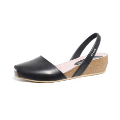 Cardona leather wedge sandals in black