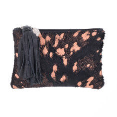 Chloe Clutch In Gold Black Calf-hair/leather