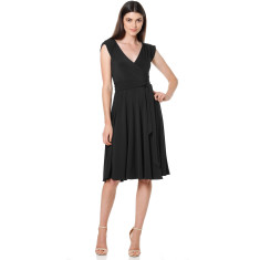 Wrap cap sleeve full skirt dress in black
