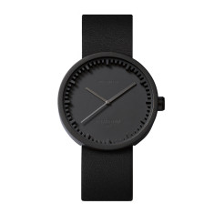 Leff Amsterdam tube watch D38 with black leather strap black finish
