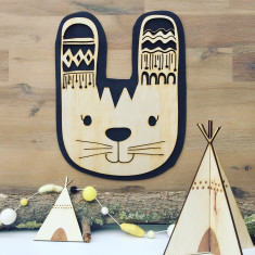 Tribal boho rabbit timber wall hanging