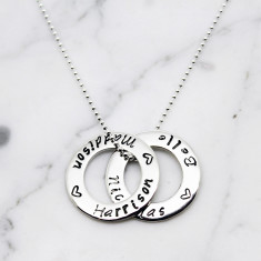 Double Small Circle of love sterling silver necklace