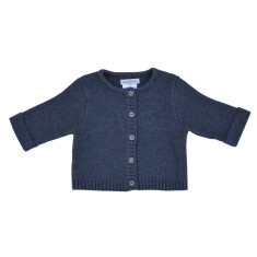 Wave knit cotton baby cardigan in indigo marle