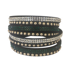 Studded double wrap bracelet in green