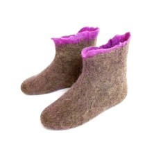Women's Handmade Eco Wool Booties Purple