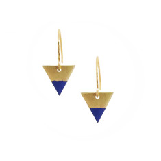 Tiny cobalt dipped arrow earrings