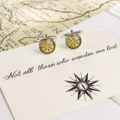 Not all who wander compass cufflinks
