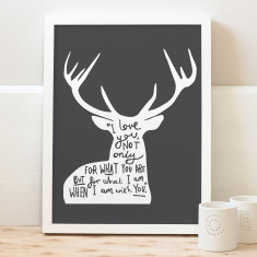 Typography Deer Quote Print