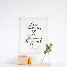 Love is the masterkey personalised wall banner