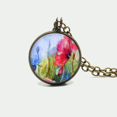 Watercolour floral silver or antique chain necklace