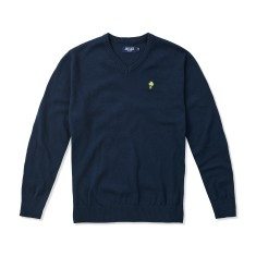 Boys Classic V-neck Navy Jumper with Lime Palm Emblem