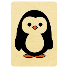 Mr Penguin wooden card