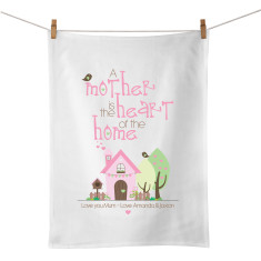 A mother is the heart of the home personalised tea towel