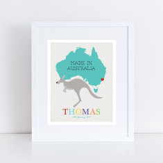 Kangaroo made in Australia personalised birth print