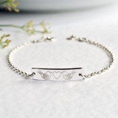Personalised sterling silver little bar bracelet