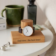 MijMoj Design Solid Oak Watch Stand Personalised With Dad Timethe Best Time