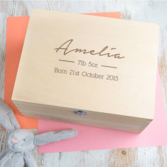 Personalised Baby Girl Keepsake Box