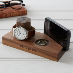 Solid Walnut Personalised Bedside Watch And Phone Stand
