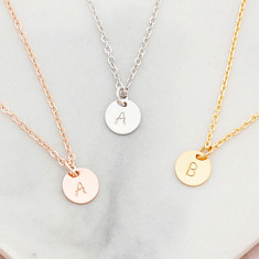 Personalised Hand Stamped Initial Disc Necklace In Rose Gold Or Silver