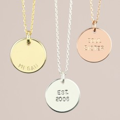 Personalised Hand Stamped Disc Pendant Necklace