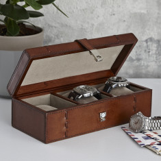 Vintage Tan Watch Box Open