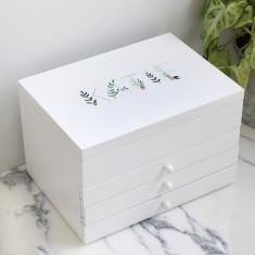 personalised floral triple drawer jewellery box