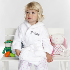 25a29248a0 Personalised Soft Baby Or Child s Dressing Gown In White