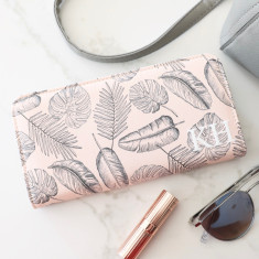 Personalised Large Pink Palm Print Zip Around Wallet