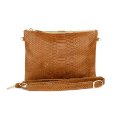 8997f8dc6c Camel brown snakeskin leather zipper crossbody bag