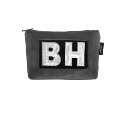 Personalised grey velvet cosmetic pouch. by Apatchy London baa4cd6a8d
