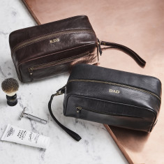 Dark Brow and Black · Leather Wash bag ... 43497b3995913