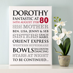 Personalised 80th Birthday Typographic Art