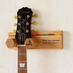 Personalised Solid Oak Guitar Wall Stand with Plectrum Holder