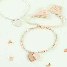 Personalised heart dainty links bracelet